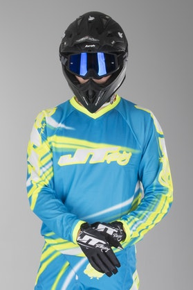JT Racing Flex Flow Motocross Jersey Cyan-Neon Yellow-White