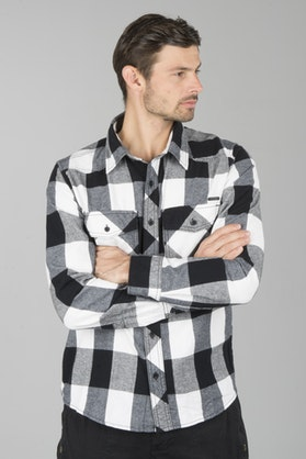 Brandit Checkshirt Shirt - White-Black