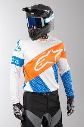 Bluza Cross Alpinestars Racer Tech Atomic Szaro-Niebiesko-Fluorescencyjno Pomarańczowy