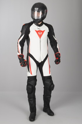 Dainese Assen Perf. Leathers White-Black-Red