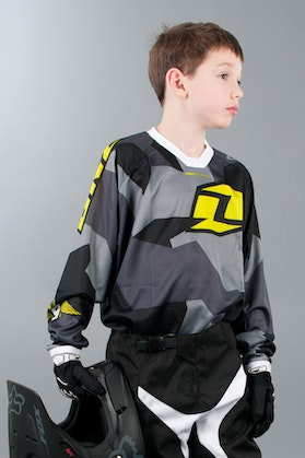 One Industries Youth MX Jersey Atom Camoto Black-Grey