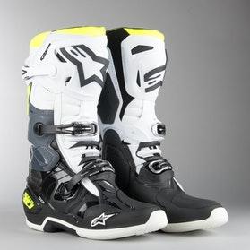 Buty Cross Alpinestars Tech 10 Czarno-Biało-Neonowo-Żółte