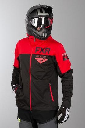 Bluza z Kapturem FXR Hydrogen Softshell Czarno-Czerwona