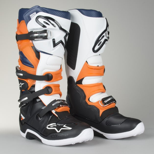 Alpinestars Tech 7 MX Boots Black-Orange-White-Blue - Now 5% Savings ... 9a2800e687e92