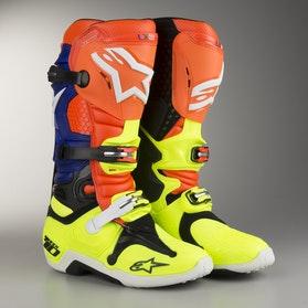 Alpinestars Tech 10 Boots Fluo Orange-Blue-White-Fluo Yellow