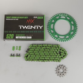 MX Twenty Delta 520 X-Ring Chain & Sprocket Kit Green
