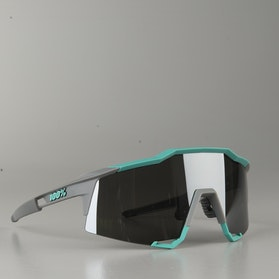 100% Speedcraft Soft Tact Bicycle Glasses Cleste Green-Cement Grey-Black Mirror