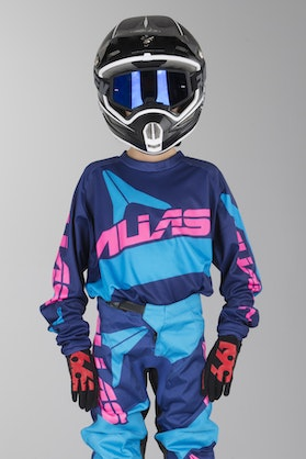 Alias A2 Bars Youth Motocross Jersey Navy Blue-Cyan