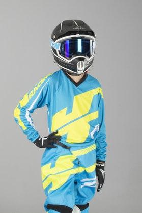 Bluza Cross JT Racing Flex Hi-Lo Dziecięca Cyan-Neon-Żółta