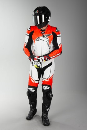 Alpinestars GP Plus V2 Leather Suit Black-Fluo Red-White